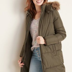 Hooded Frost Free Long Puffer Olive Green Jacket L
